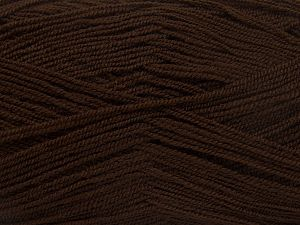 Very thin yarn. It is spinned as two threads. So you will knit as two threads. Yardage information is for only one strand. Fiber Content 100% Acrylic, Brand Ice Yarns, Dark Brown, fnt2-66135