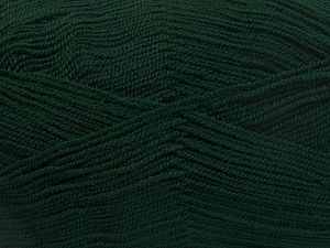 Very thin yarn. It is spinned as two threads. So you will knit as two threads. Yardage information is for only one strand. Fiber Content 100% Acrylic, Brand Ice Yarns, Dark Green, fnt2-66144
