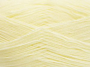 Very thin yarn. It is spinned as two threads. So you will knit as two threads. Yardage information is for only one strand. Fiber Content 100% Acrylic, Light Yellow, Brand Ice Yarns, fnt2-66145