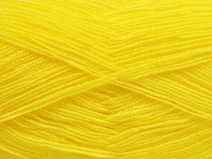 Very thin yarn. It is spinned as two threads. So you will knit as two threads. Yardage information is for only one strand. Fiber Content 100% Acrylic, Neon Yellow, Brand Ice Yarns, fnt2-66146