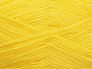 Very thin yarn. It is spinned as two threads. So you will knit as two threads. Yardage information is for only one strand. Fiber Content 100% Acrylic, Lemon Yellow, Brand Ice Yarns, fnt2-66147