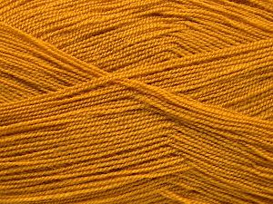 Very thin yarn. It is spinned as two threads. So you will knit as two threads. Yardage information is for only one strand. Fiber Content 100% Acrylic, Brand Ice Yarns, Dark Gold, fnt2-66150