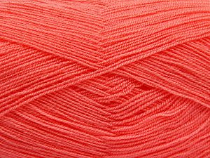Very thin yarn. It is spinned as two threads. So you will knit as two threads. Yardage information is for only one strand. Fiber Content 100% Acrylic, Light Orange, Brand Ice Yarns, fnt2-66154