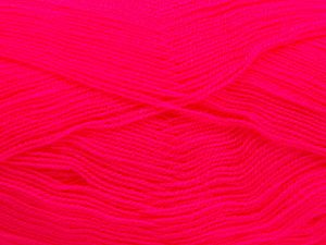 Very thin yarn. It is spinned as two threads. So you will knit as two threads. Yardage information is for only one strand. Fiber Content 100% Acrylic, Neon Pink, Brand Ice Yarns, fnt2-66161