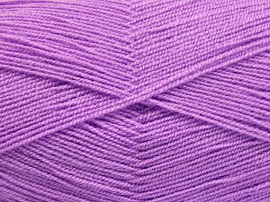 Very thin yarn. It is spinned as two threads. So you will knit as two threads. Yardage information is for only one strand. Fiber Content 100% Acrylic, Light Lilac, Brand Ice Yarns, fnt2-66172