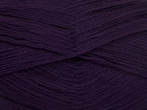 Very thin yarn. It is spinned as two threads. So you will knit as two threads. Yardage information is for only one strand. Fiber Content 100% Acrylic, Brand Ice Yarns, Dark Purple, fnt2-66175