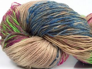 Please note that this is a hand-dyed yarn. Colors in different lots may vary because of the charateristics of the yarn. Also see the package photos for the colorway in full; as skein photos may not show all colors. Fiber Content 75% Super Wash Wool, 25% Polyamide, Light Green, Light Camel, Brand Ice Yarns, Fuchsia, Blue Shades, fnt2-66267