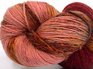 Please note that this is a hand-dyed yarn. Colors in different lots may vary because of the charateristics of the yarn. Also see the package photos for the colorway in full; as skein photos may not show all colors. Fiberinnehåll 75% Super Wash Ull, 25% Polyamid, Rose Brown, Light Pink, Brand Ice Yarns, Gold, Burgundy Shades, fnt2-66268