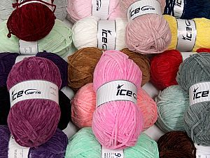 Chenille Baby Light This mixed lot includes a total of 2000 gr (70.5 oz.) yarn. There is no standard for ball weight. Also disregard any information on the labels. You will get what you see in the photo. Fiber Content 100% Micro Fiber, Brand Ice Yarns, fnt2-66397