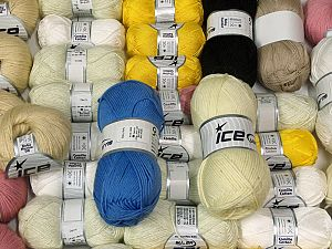 Summer Yarns This mixed lot includes a total of 2000 gr (70.5 oz.) yarn. There is no standard for ball weight. Also disregard any information on the labels. You will get what you see in the photo. Brand Ice Yarns, fnt2-66466