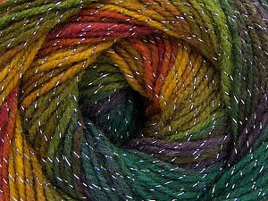 Fiber Content 95% Acrylic, 5% Lurex, Purple, Brand Ice Yarns, Green Shades, Gold, Copper, fnt2-66547
