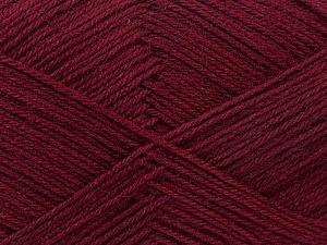 Fiber Content 60% Merino Wool, 40% Acrylic, Brand ICE, Burgundy, Yarn Thickness 2 Fine  Sport, Baby, fnt2-21109