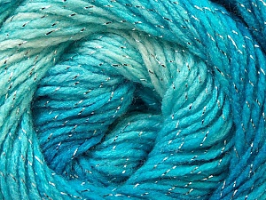 Fiber Content 95% Acrylic, 5% Lurex, White, Turquoise, Silver, Light Blue, Brand ICE, Yarn Thickness 3 Light  DK, Light, Worsted, fnt2-22052