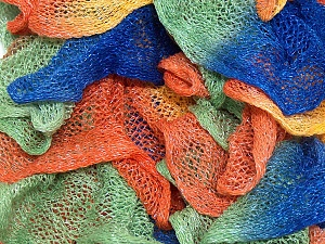 A fresh scarf  yarn wiith cotton content. Shiny and fresh! Fiber Content 70% Cotton, 30% Nylon, Orange, Brand ICE, Green, Blue, Yarn Thickness 6 SuperBulky  Bulky, Roving, fnt2-23320