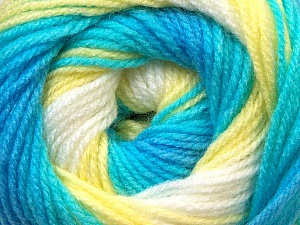 Fiber Content 100% Baby Acrylic, Yellow, White, Turquoise Shades, Brand ICE, Yarn Thickness 2 Fine  Sport, Baby, fnt2-29605