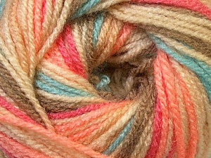 Fiber Content 100% Premium Acrylic, Salmon, Khaki, Brand ICE, Cream, Camel, Blue, Yarn Thickness 3 Light  DK, Light, Worsted, fnt2-33396