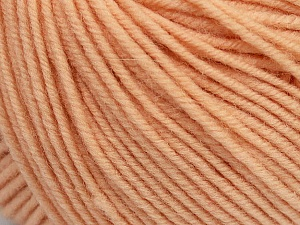 SUPERWASH MERINO is a worsted weight 100% superwash merino yarn available in 47 beautiful colors. Marvelous hand, perfect stitch definition, and a soft-but-sturdy finished fabric. Projects knit and crocheted in SUPERWASH MERINO are machine washable! Lay flat to dry. Fiber Content 100% Superwash Merino Wool, Light Salmon, Brand ICE, Yarn Thickness 4 Medium  Worsted, Afghan, Aran, fnt2-42469