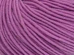 SUPERWASH MERINO is a worsted weight 100% superwash merino yarn available in 47 beautiful colors. Marvelous hand, perfect stitch definition, and a soft-but-sturdy finished fabric. Projects knit and crocheted in SUPERWASH MERINO are machine washable! Lay flat to dry. Fiber Content 100% Superwash Merino Wool, Light Lilac, Brand ICE, Yarn Thickness 4 Medium  Worsted, Afghan, Aran, fnt2-42483