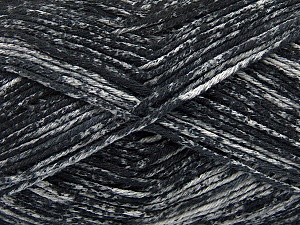 Strong pure cotton yarn in beautiful colours, reminiscent of bleached denim. Machine washable and dryable. Fiber Content 100% Cotton, Brand ICE, Grey, Black, Yarn Thickness 3 Light  DK, Light, Worsted, fnt2-42554