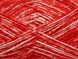 Strong pure cotton yarn in beautiful colours, reminiscent of bleached denim. Machine washable and dryable. Fiber Content 100% Cotton, White, Red, Brand ICE, Yarn Thickness 3 Light  DK, Light, Worsted, fnt2-42560