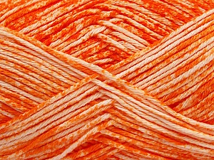 Strong pure cotton yarn in beautiful colours, reminiscent of bleached denim. Machine washable and dryable. Fiber Content 100% Cotton, White, Orange, Brand ICE, Yarn Thickness 3 Light  DK, Light, Worsted, fnt2-42561