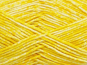 Strong pure cotton yarn in beautiful colours, reminiscent of bleached denim. Machine washable and dryable. Fiber Content 100% Cotton, Yellow, White, Brand ICE, Yarn Thickness 3 Light  DK, Light, Worsted, fnt2-42562