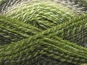 Fiber Content 55% Acrylic, 25% Mohair, 20% Alpaca, White, Brand Ice Yarns, Green Shades, Yarn Thickness 4 Medium  Worsted, Afghan, Aran, fnt2-46206
