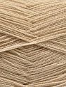 Very thin yarn. It is spinned as two threads. So you will knit as two threads. Yardage information is for only one strand. Contenido de fibra 100% Acrílico, Brand Ice Yarns, Dark Beige, fnt2-66130