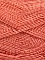 Very thin yarn. It is spinned as two threads. So you will knit as two threads. Yardage information is for only one strand. Contenido de fibra 100% Acrílico, Brand Ice Yarns, Dark Salmon, fnt2-66151