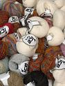 Winter Yarns This mixed lot includes a total of 2000 gr (70.5 oz.) yarn. There is no standard for ball weight. Also disregard any information on the labels. You will get what you see in the photo. Brand Ice Yarns, fnt2-66295