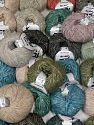 Baby Alpaca Merino Cotton This mixed lot includes a total of 2000 gr (70.5 oz.) yarn. There is no standard for ball weight. Also disregard any information on the labels. You will get what you see in the photo. Fiber Content 56% Cotton, 22% Baby Alpaca, 22% Extrafine Merino Wool, Brand Ice Yarns, fnt2-66364